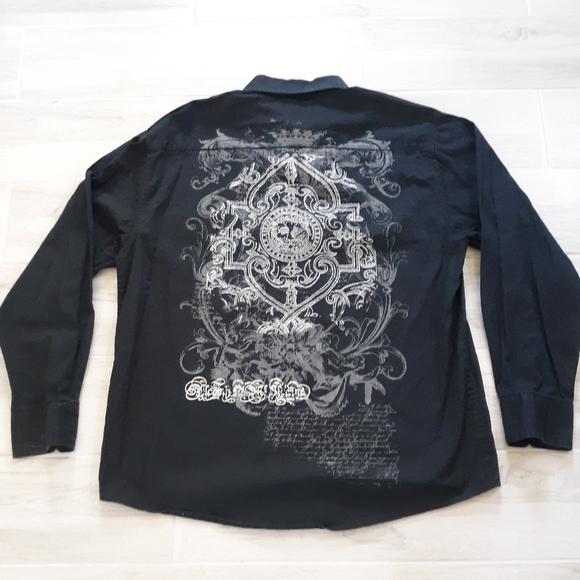 EIGHTY EIGHT Men's Graphic Shirt Button Down Black